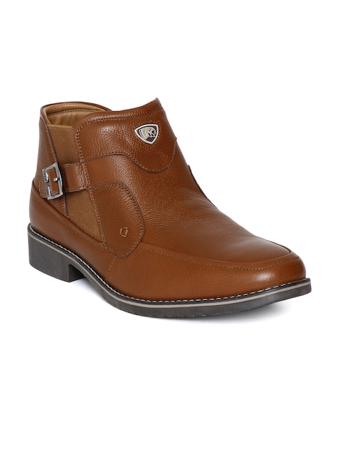 Red Chief Men Brown Solid Leather High-Top Flat Boots