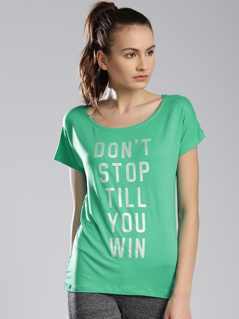 Kappa Women Green Printed Regular Top