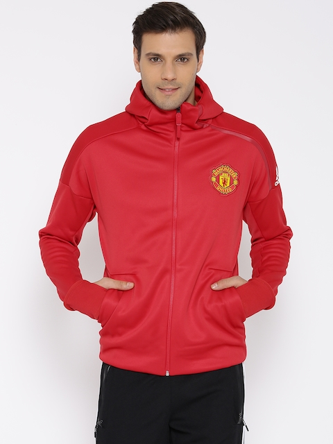 Adidas Red MUFC ANTH ZNE H Hooded Sweatshirt