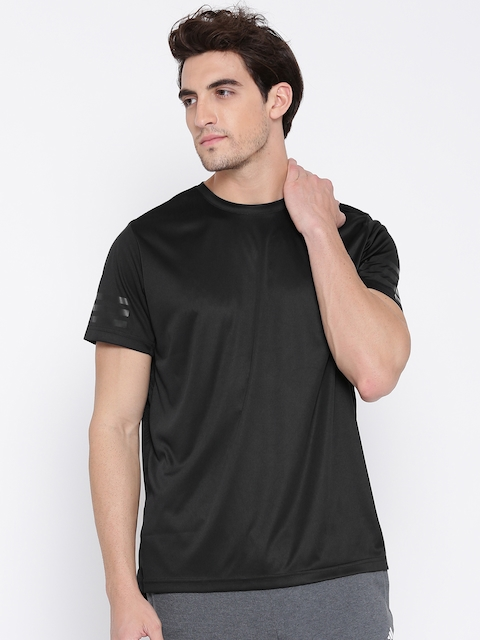 Adidas Men Black Climacool Solid Round Neck Training T-shirt