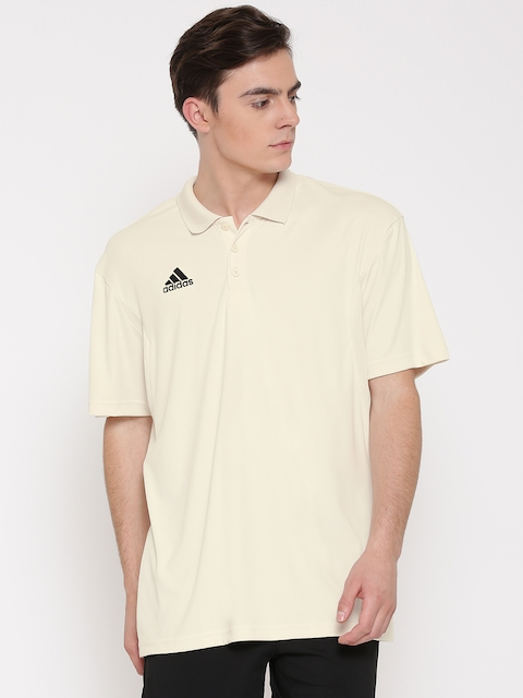 ADIDAS Men Off-White HOWZAT Solid Polo Collar T-shirt