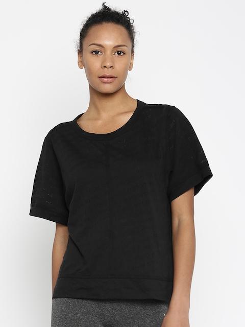 Stella McCartney by Adidas Women Black Self-design Round Neck T-shirt