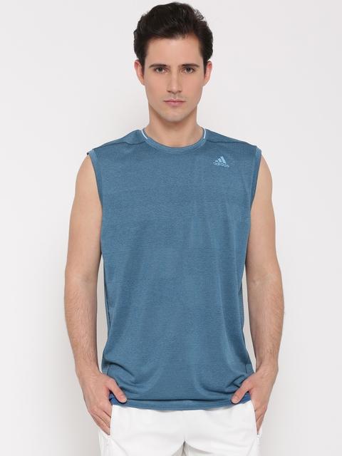 Adidas Men Blue SN Self-Design Round Neck Sleeveless Running T-shirt