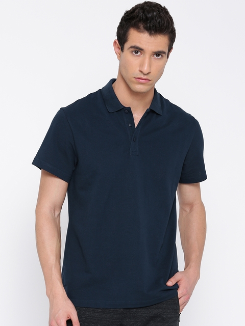 ADIDAS Men Navy Essentials Base Solid Polo Collar T-shirt