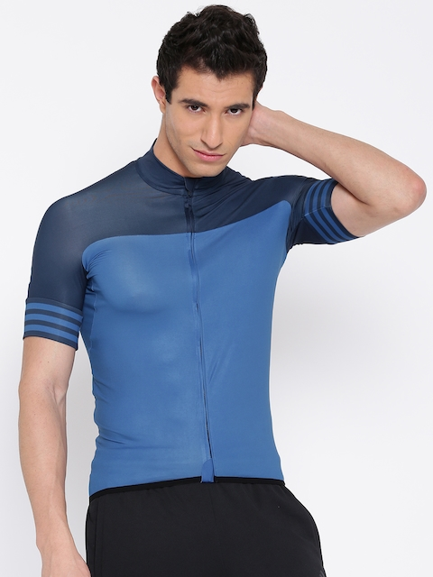 ADIDAS Men Blue CD.ZERO3.J.SS.K Solid High Neck Cycling Jersey T-shirt