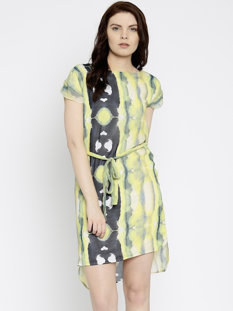 Park Avenue Park AvenueYellow Printed A-Line Dress