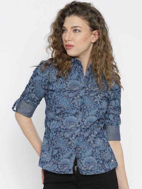 Park Avenue Navy Blue Printed Shirt