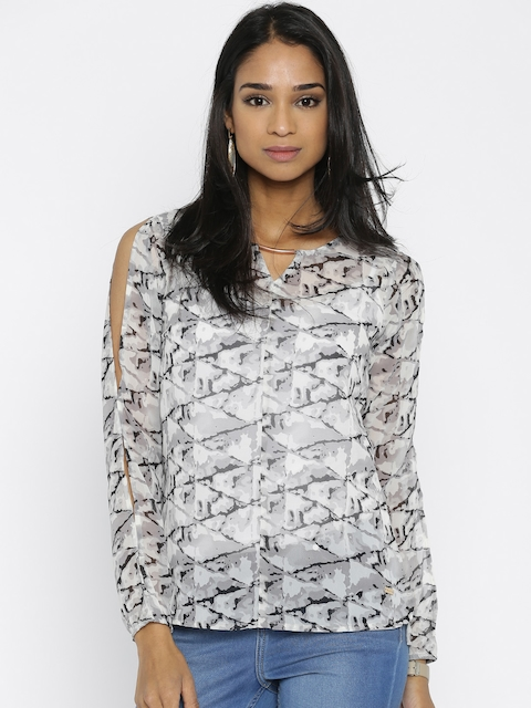 Park Avenue Grey & Off-White Printed Top