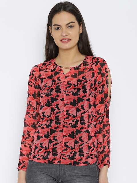 Park Avenue Red & Black Printed Top