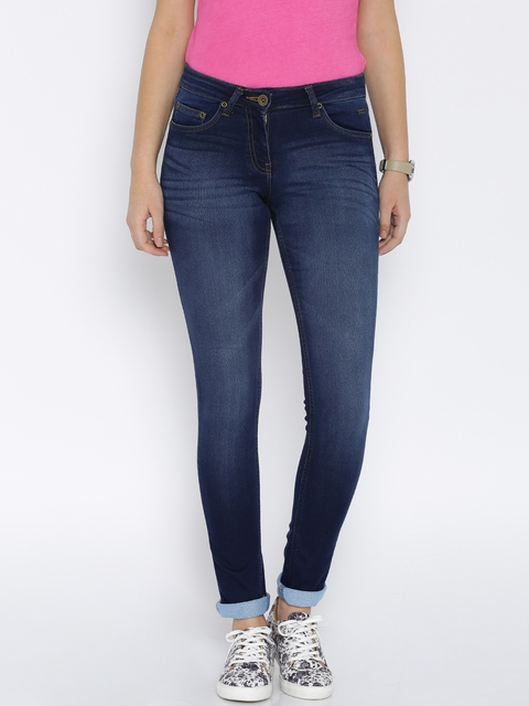Park Avenue Women Blue Power Skinny Fit Mid-Rise Clean Look Jeans