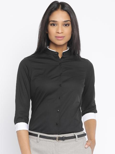 Park Avenue Women Black Formal Shirt