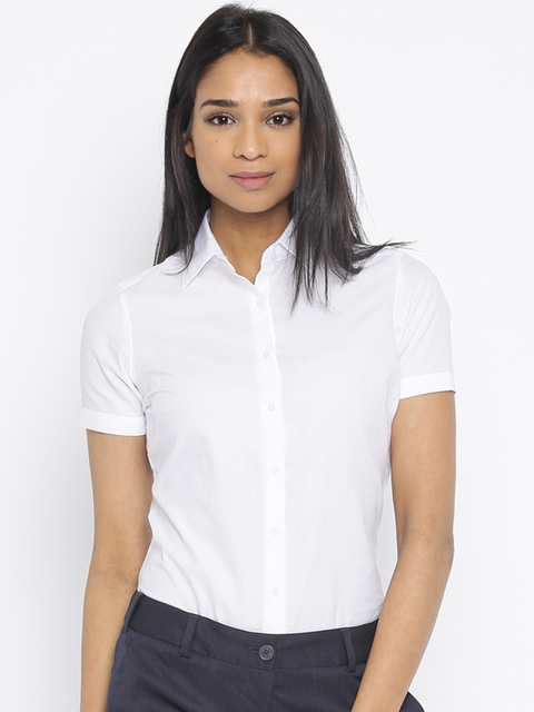 Park Avenue White Self-Design Formal Shirt