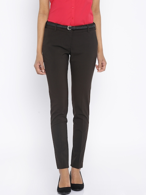 Park Avenue Women Brown Solid Tapered Fit Trousers