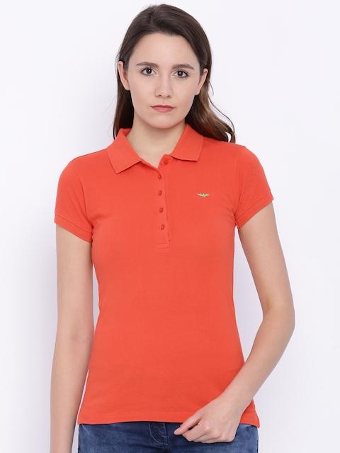 Park Avenue Women Orange Polo T-shirt