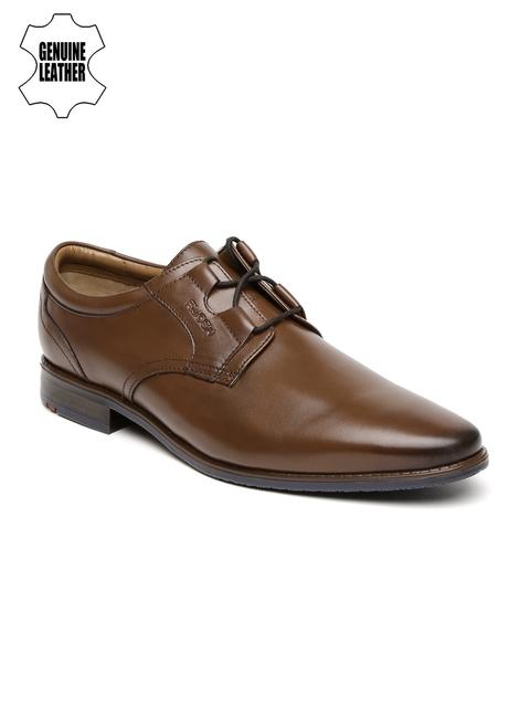 Ruosh Work Men Tan Brown Semiformal Genuine Leather Derbys