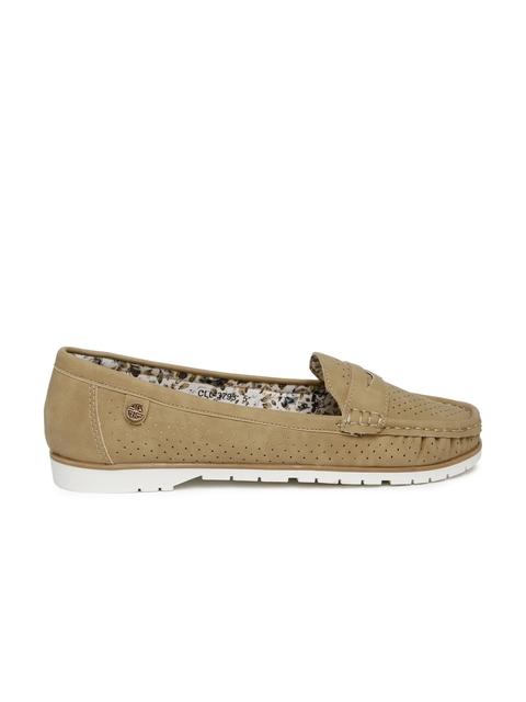 Carlton London Women Beige Perforations Loafers