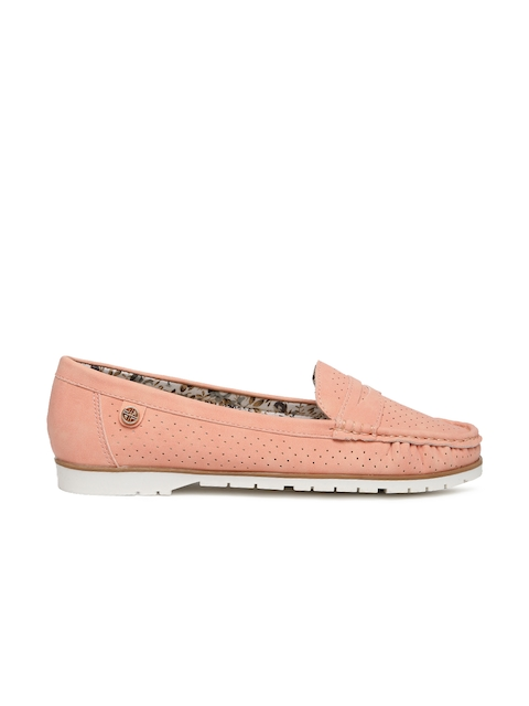 Carlton London Women Pink Perforations Loafers