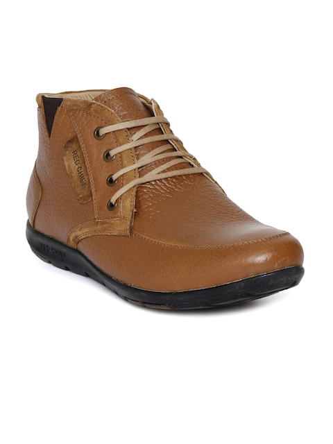 Red Chief Men Tan Brown Solid Leather High-Top Flat Boots