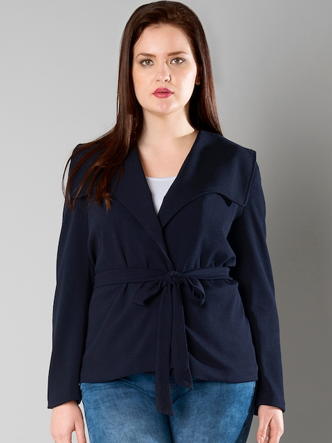 FabAlley Curve Navy Patterned Open-Front Jacket