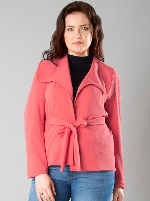FabAlley Curve Pink Patterned Open-Front Jacket