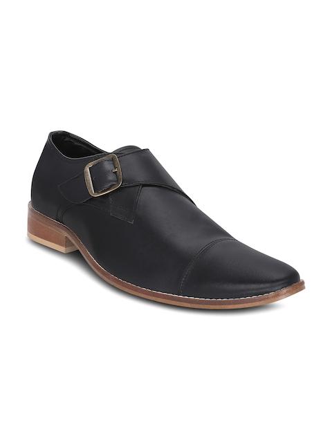 Get Glamr Men Black Leather Formal Shoes