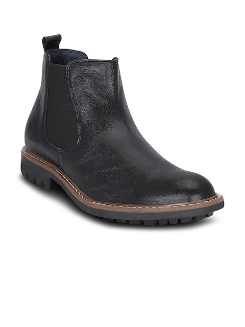 Get Glamr Men Black Solid Mid-Top Leather Flat Boots