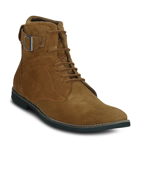 Get Glamr Men Tan Brown Solid Mid-Top Suede Flat Boots