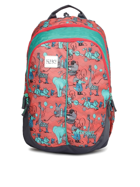 Wildcraft Wiki Unisex Pink & Green Zoo Graphic Backpack
