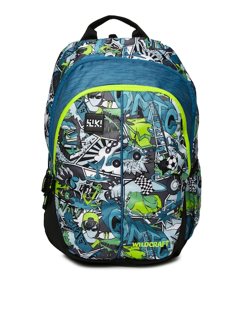 Wildcraft Unisex Blue Printed Wiki 1 Streets 1 Backpack