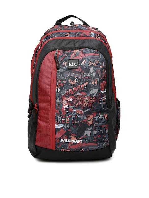 Wildcraft Unisex Red & Grey Wiki 5 Punk 3 Printed Backpack
