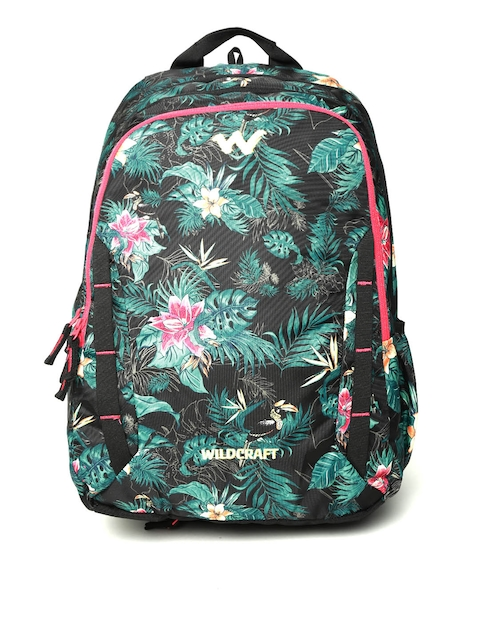 Wildcraft Unisex Black & Green 7 Flora 5 Printed Backpack