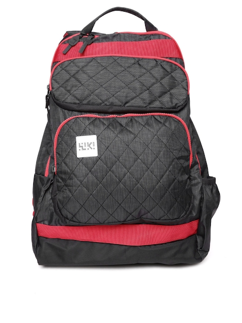 Wildcraft Unisex Black & Red Toss Quilted Reversible Backpack