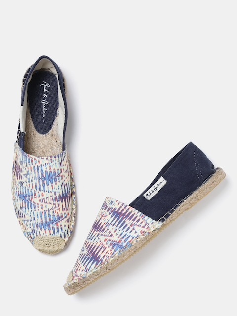 Mast & Harbour Women Off-White & Navy Printed Espadrilles