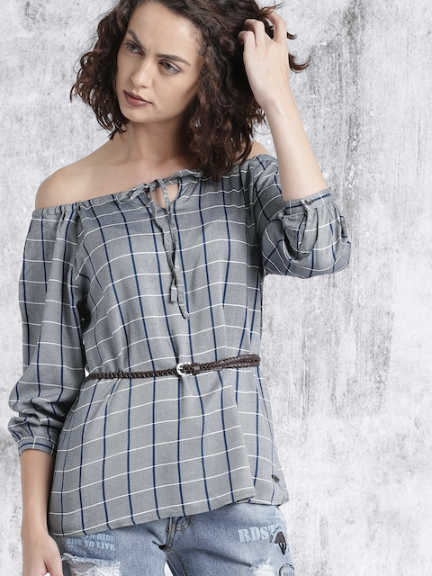 Roadster Women Grey & Navy Checked Belted Top