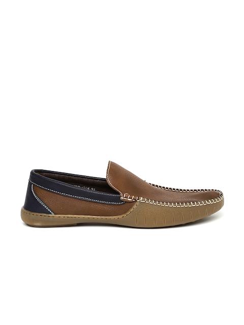 Carlton London Men Brown & Blue Colourblocked Loafers