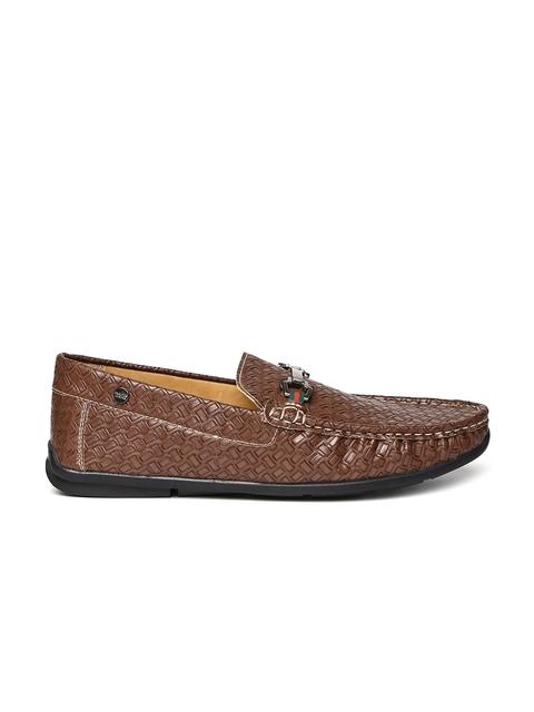 Carlton London Men Brown Textured Loafers