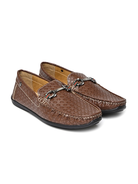 Carlton London Men Brown Textured Loafers