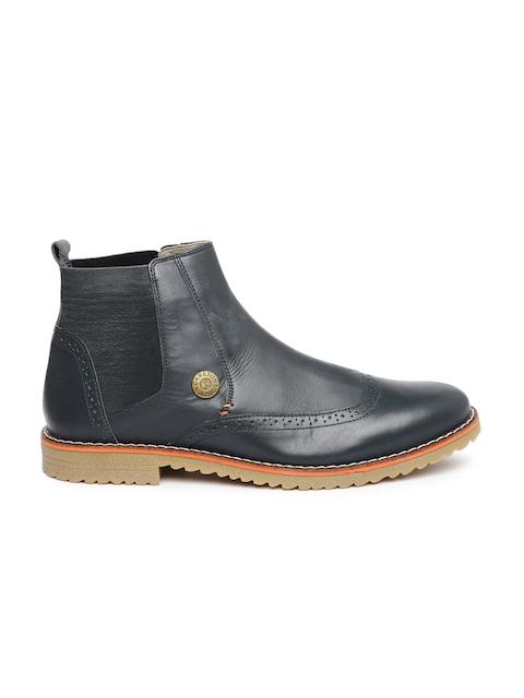 Carlton London Men Navy Leather Flat Boots