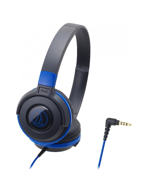 Audio Technica ATH-S100BBL Street Monitoring  On Ear Headphones, Black & Blue