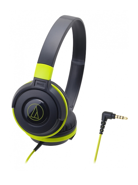 Audio Technica ATH-S100BBL Street Monitoring  On Ear Headphones, Black & Green