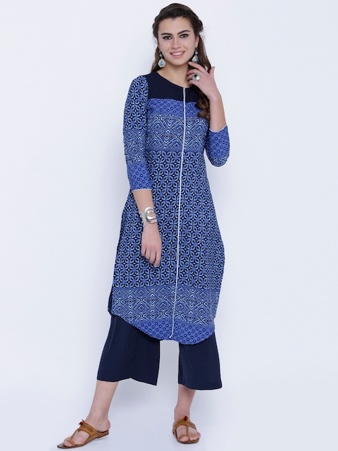 Vishudh Women Navy Printed Straight Kurta  available at myntra for Rs.399