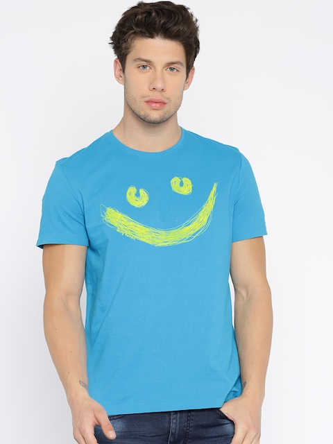 Being Human Clothing Men Blue Printed Round Neck T-Shirt  available at myntra for Rs.449