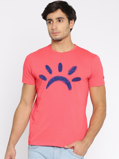 Being Human Clothing Men Pink Printed Round Neck T-shirt  available at myntra for Rs.449