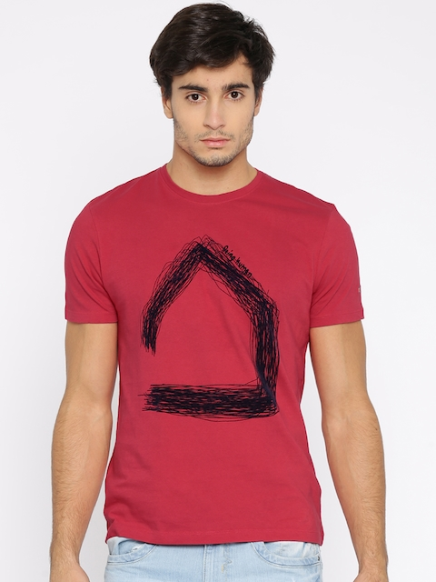 Being Human Clothing Men Red Printed Round Neck T-shirt  available at myntra for Rs.449