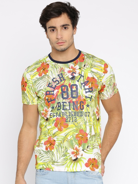 Being Human Clothing Men Multicoloured Tropical Print Round Neck T-shirt