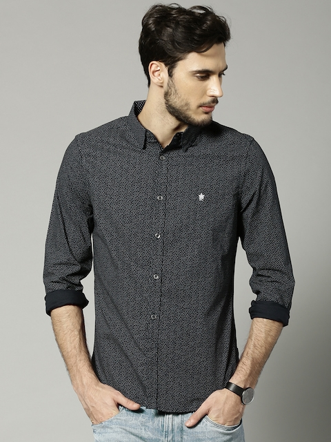 French Connection Men Navy Blue Printed Slim Fit Casual Shirt