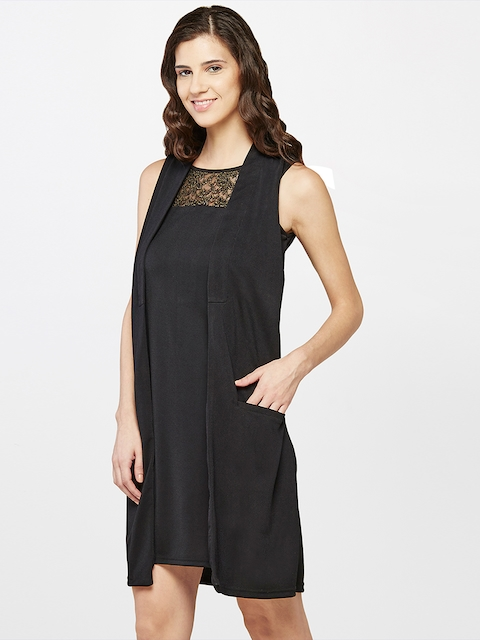 AND Women Black Layered A-Line Dress