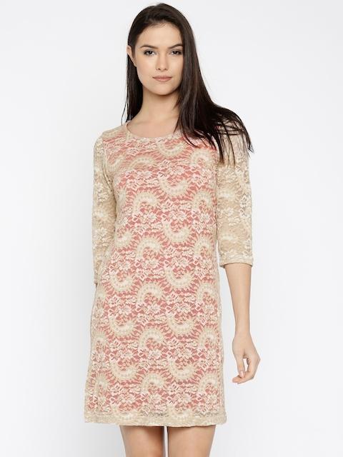 AND Women Beige & Orange Lace Sheath Dress