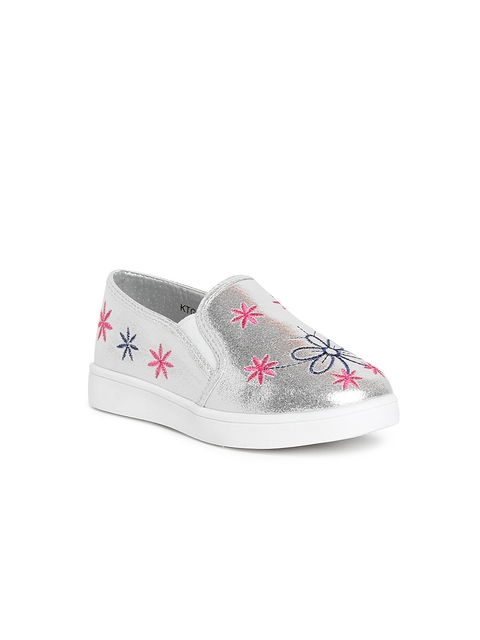 Kittens Girls Silver-Toned Embroidered Slip-Ons