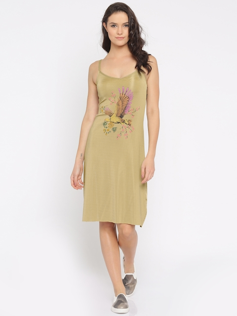 Vero Moda Women Beige Printed A-Line Dress